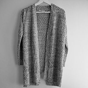 Marled Chunky Knit Open Long Cardigan